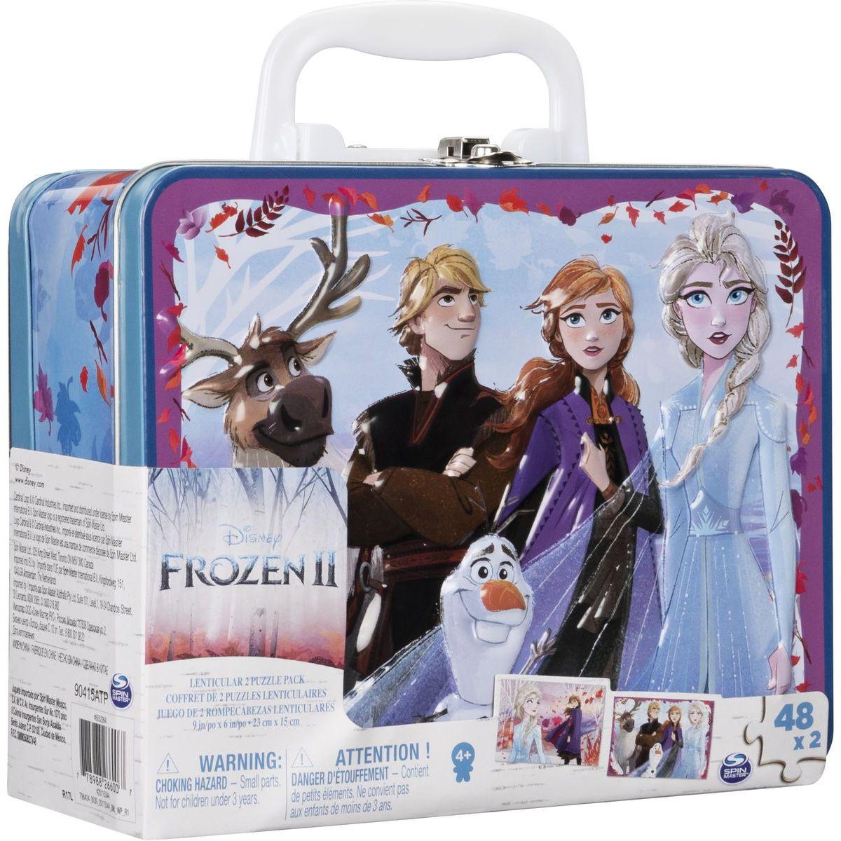 Spin Master Frozen 2 puzzle v plechovom kufríku 2 x 48 dielikov
