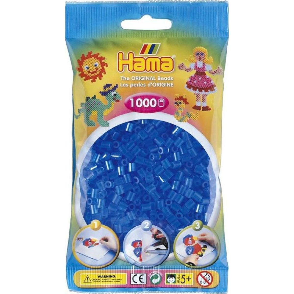 Hama H207-15 Midi Priehľadné modré korálky 1000 ks