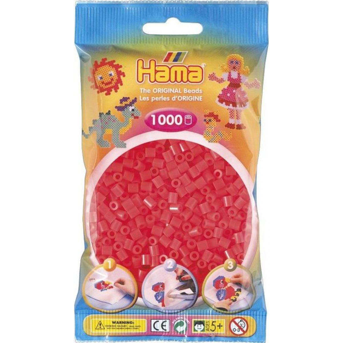 Hama H207-35 Neónové červené korálky 1000 ks Midi