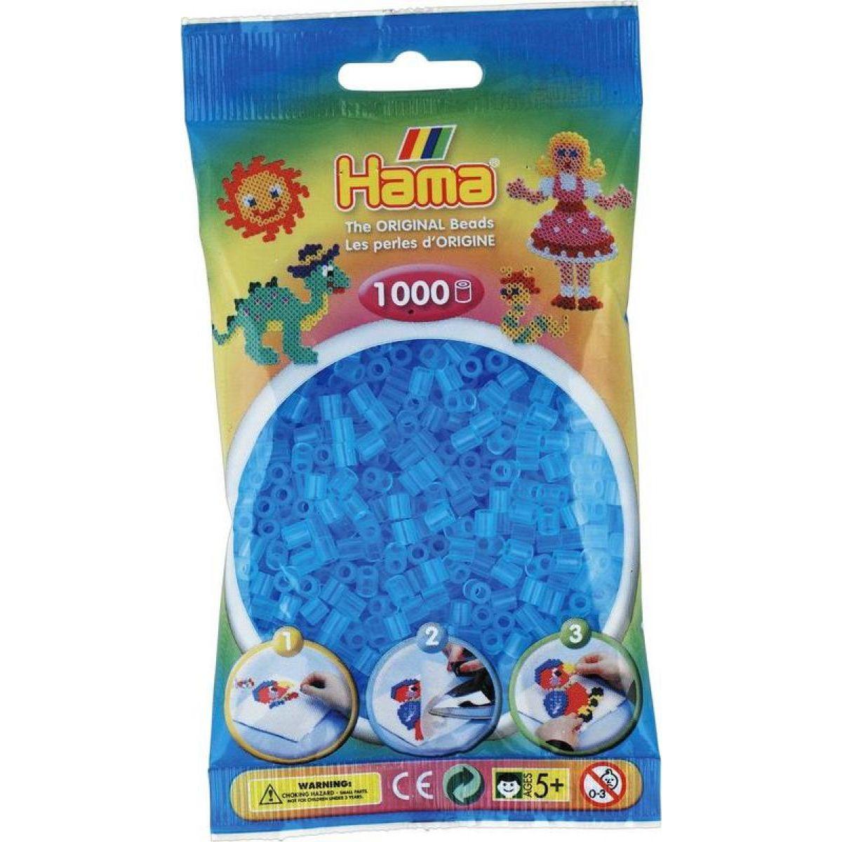 Hama H207-73 Priehľadné modré korálky 1000 ks Midi