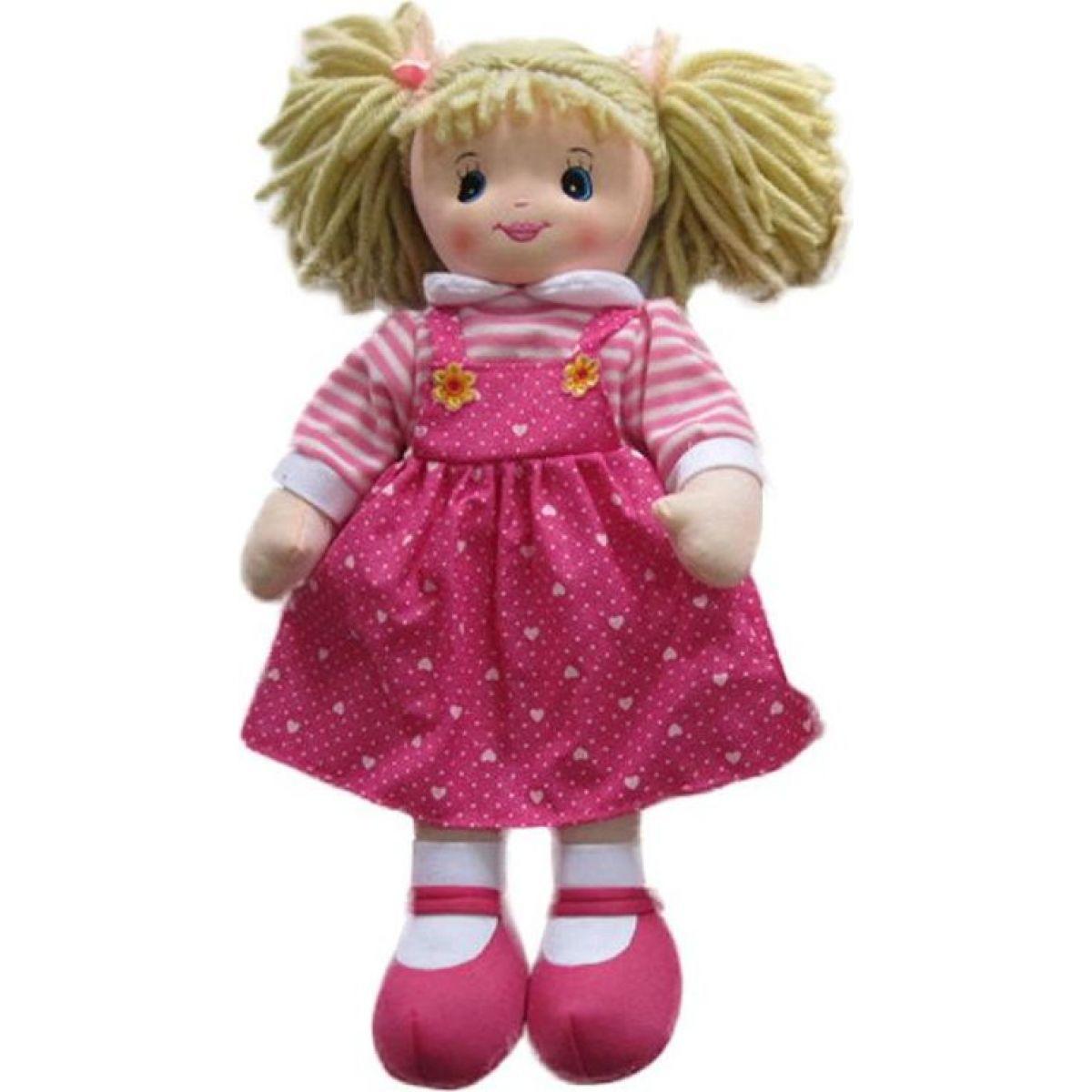 Hm Studio Bábika textilná ružové šaty so srdiečkami 50 cm