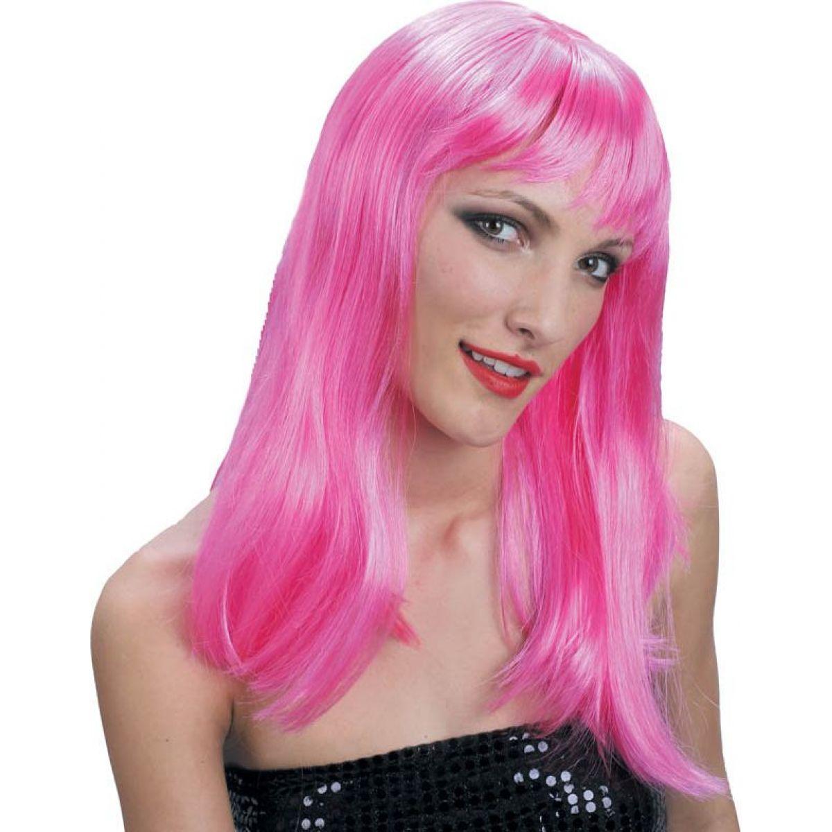 Paruka růžová dlouhé vlasy