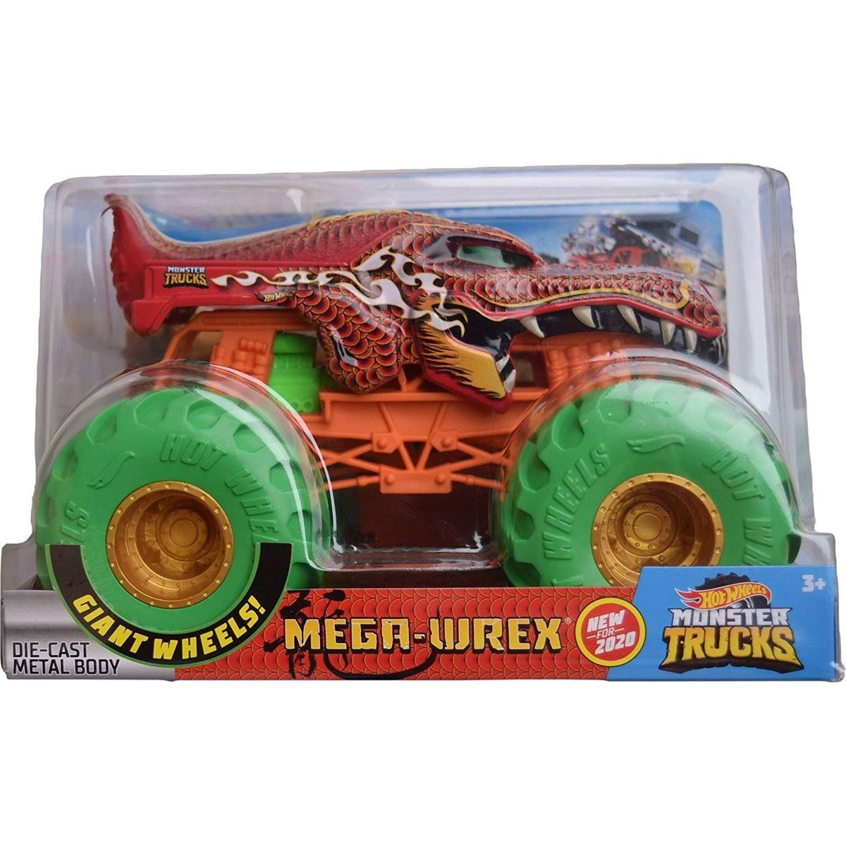 Hot Wheels Monster trucks veľký truck Mega-Wrex oranžovo-zelený