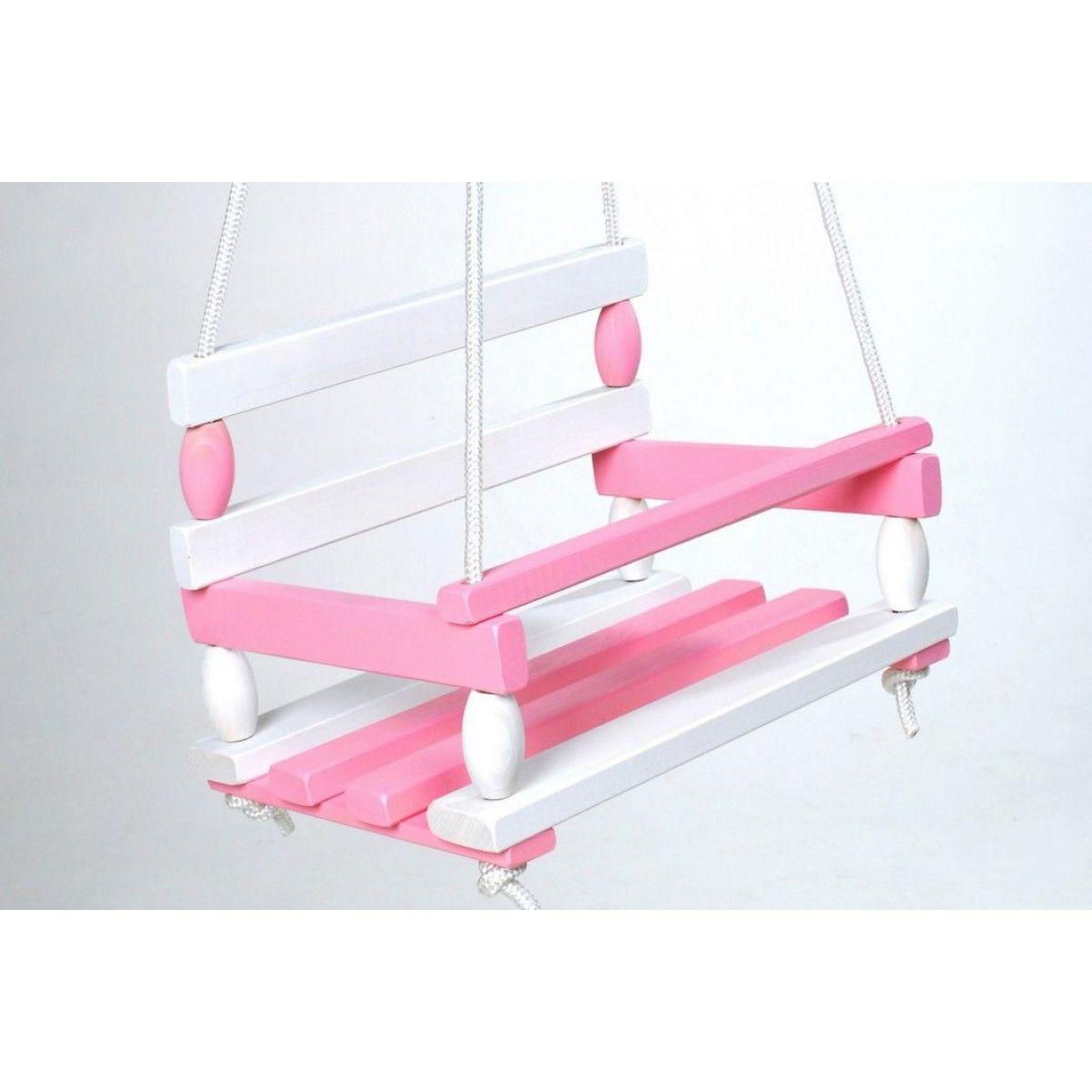 Hojdačka drevená bielo ružová nosnosť 80 kg