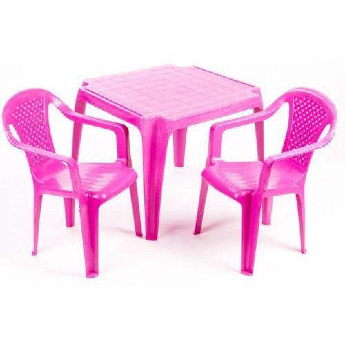 Ipae sada 2 stoličky so stolčekom ružová