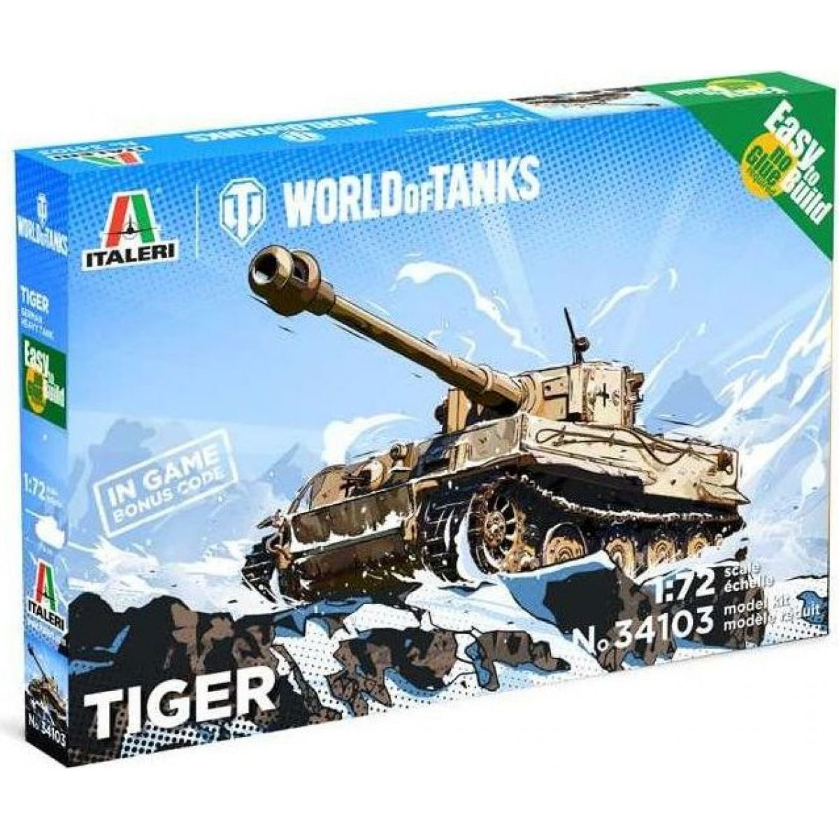Italeri Easy to Build World of Tanks 34103 Tiger 1:72