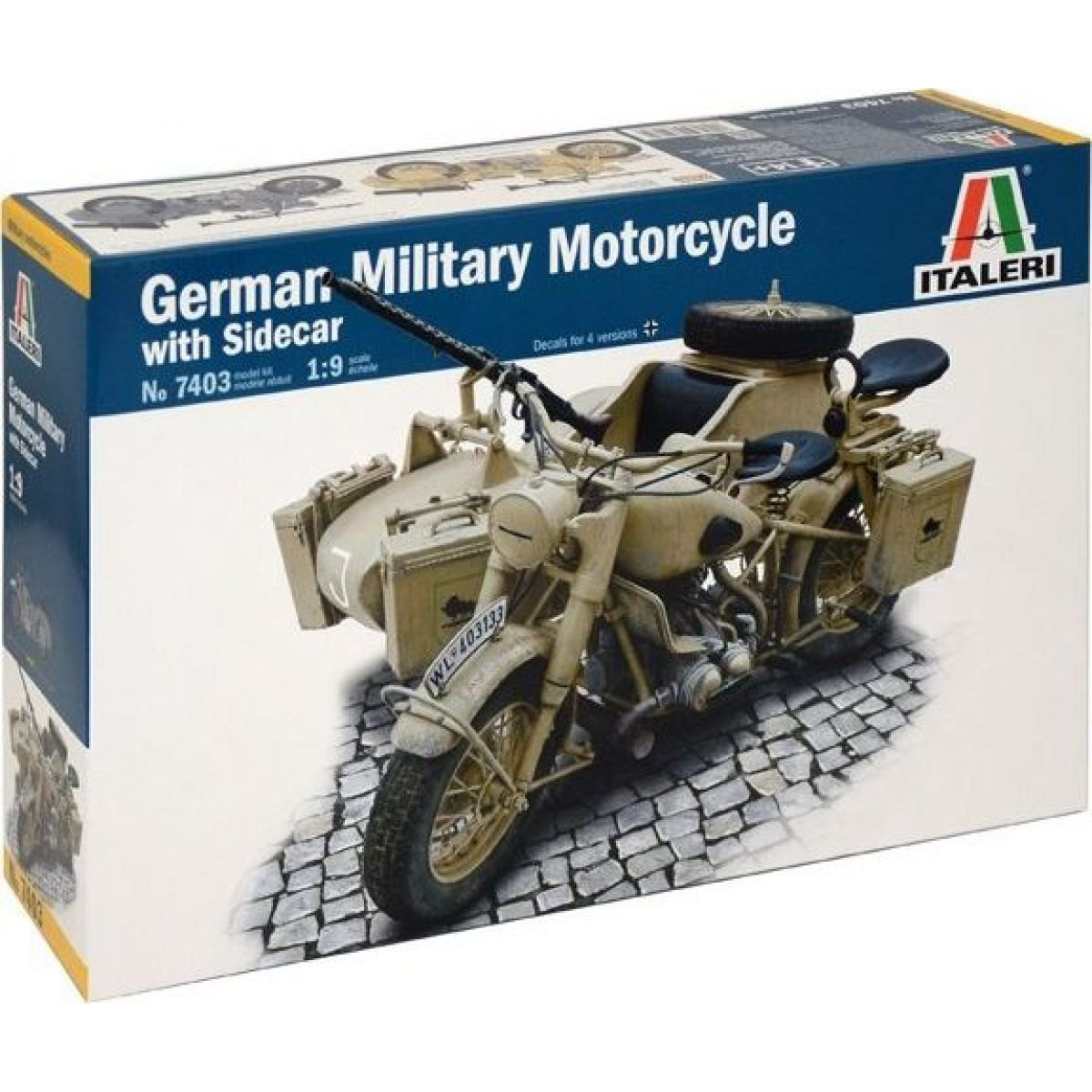 Italeri Model Kit military 7403 German Military Motorcycle with Sidecar 1: 9