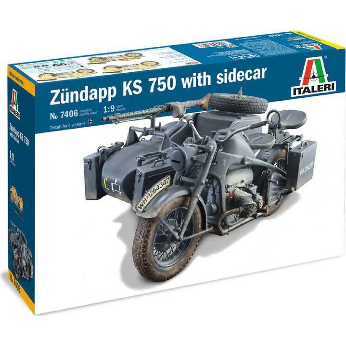 Italeri Model Kit military 7406 Zundapp KS 750 with sidecar 1: 9