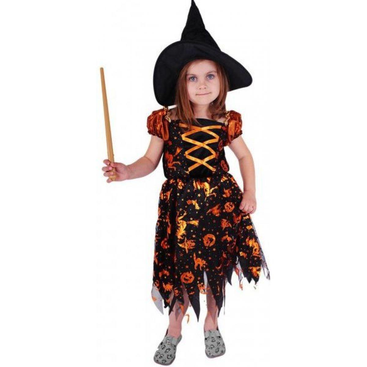 Rappa Karnevalový kostým Čarodejnica halloween s klobúkom veľ. S