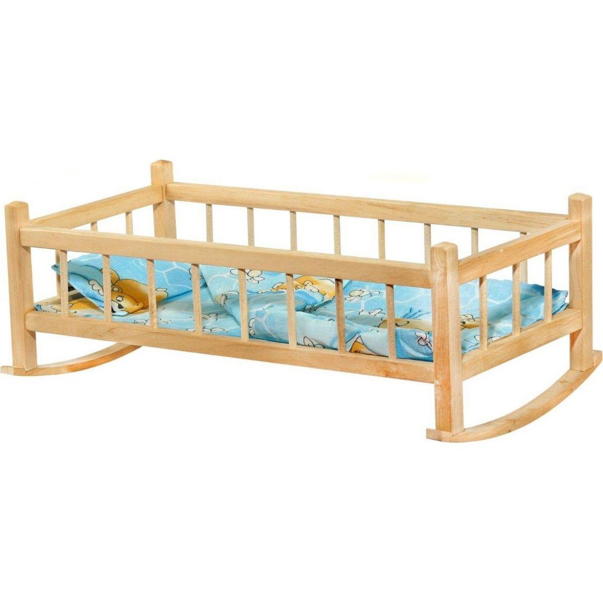 Kolíska drevená extra veľká 60 cm pre bábiky s perinkou