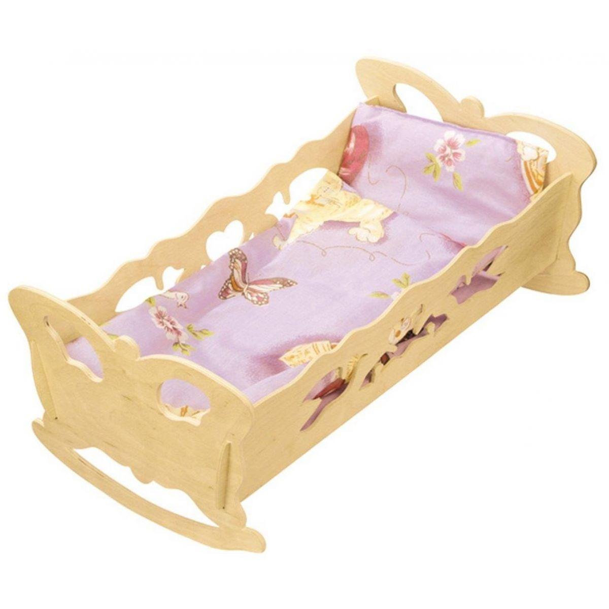 Kolíska pre bábiky drevená extra veľká 47 cm bábiky s perinkou motýľ