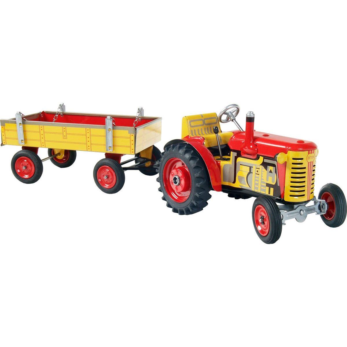Kovap Traktor Zetor s prívesom červený kovové disky