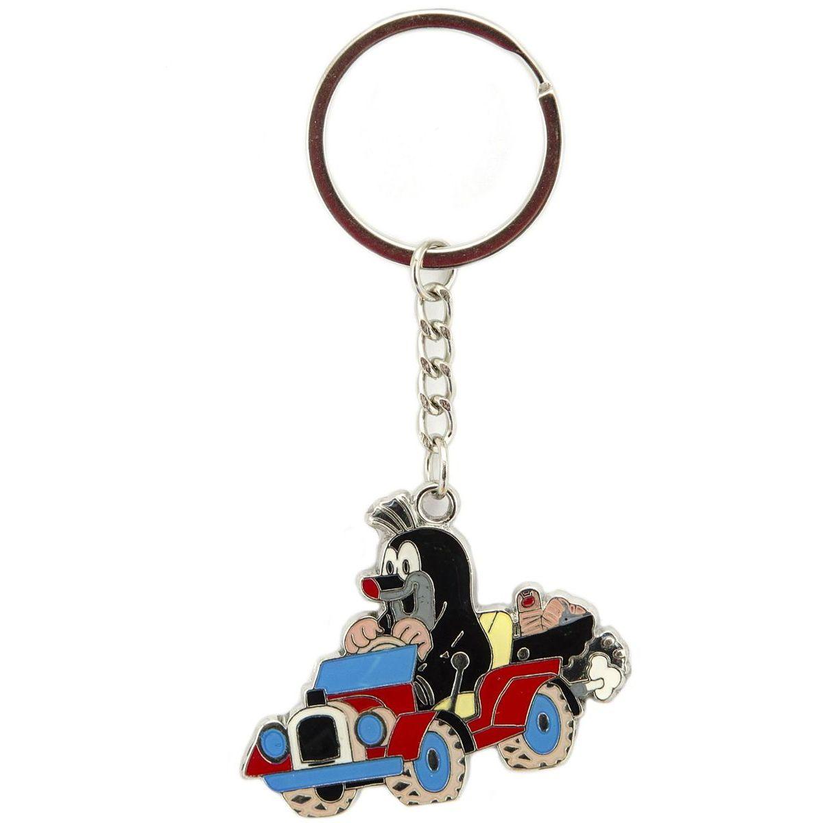 Kovový prívesok na kľúče Krtko v autíčku