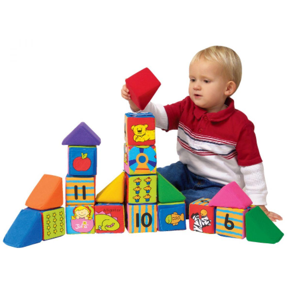 Kids Sada veselých látkových kociek a trojuholníkov