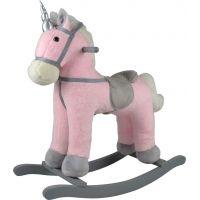 Kůň houpací růžový jednorožec plyšový na baterie se zvukem a pohybem