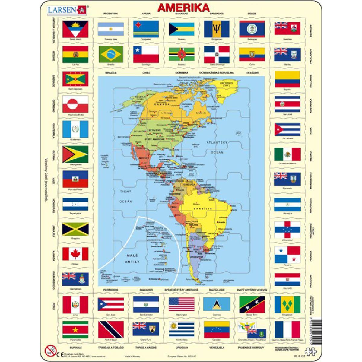 Larsen Výučbové puzzle Mapa Ameriky a vlajky