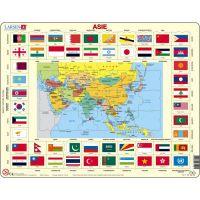Larsen Výučbové puzzle Mapa Ázie a vlajky