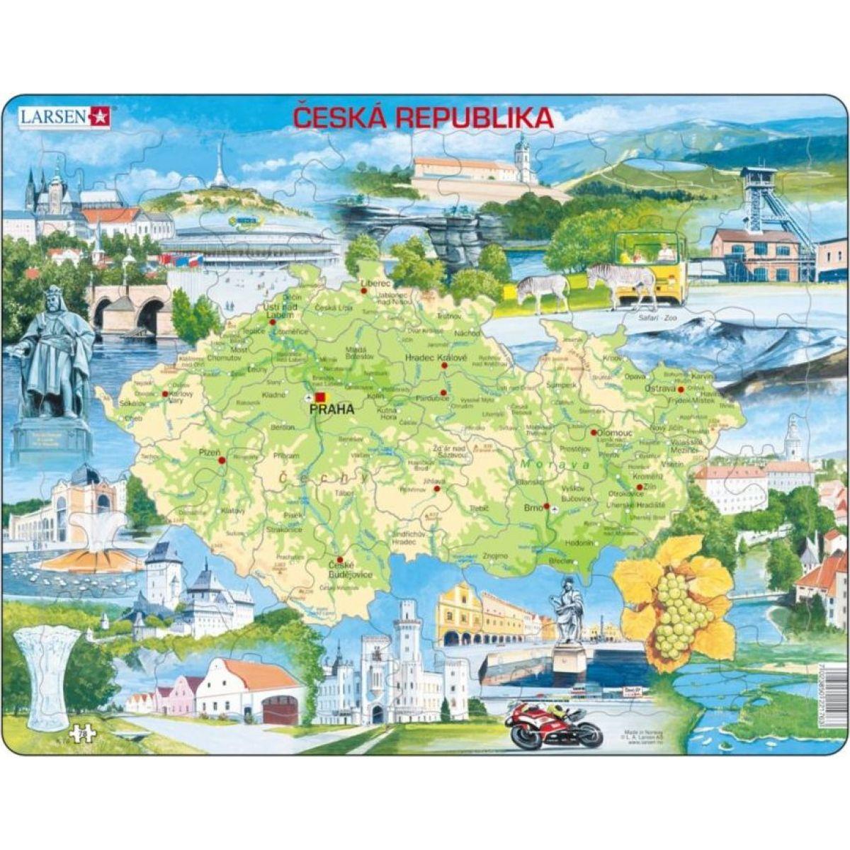 Larsen Puzzle Mapa Čiech Atraktívne miesta