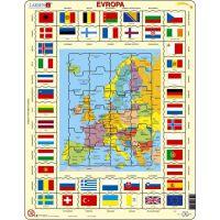 Larsen Výučbové puzzle Mapa Európy a vlajky
