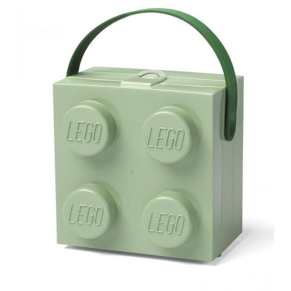 LEGO box s rukoväťou army zelená