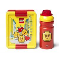 LEGO Iconic Girl desiatový set fľaša a box žltá a červená