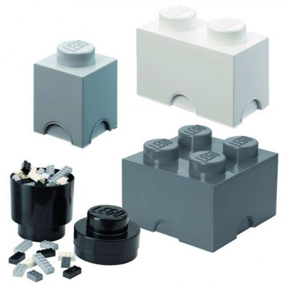 LEGO úložné boxy Multi-Pack 4 ks čierna, biela, šedá