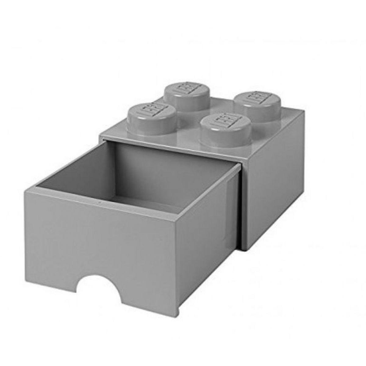 LEGO úložný box 4 So šuplíkom šedá