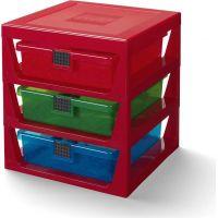 LEGO® organizér se třemi zásuvkami - červená