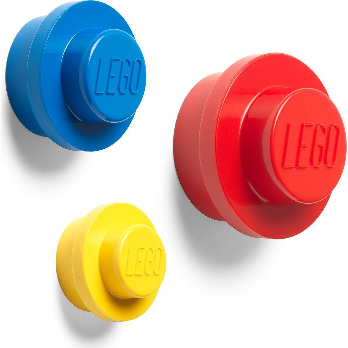LEGO® vešiak na stenu, 3 ks - žltá, modrá, červená