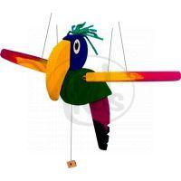 Lietacie papagáj 30 cm drevený