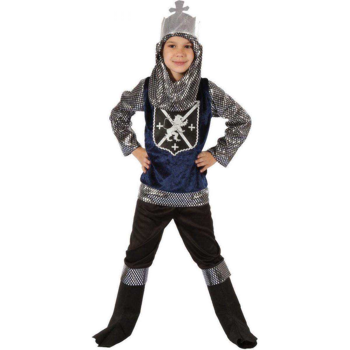 Made Detský kostým Rytier strieborný 120-130 cm