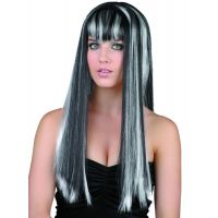 Made Parochňa dlhé čiernobiele vlasy