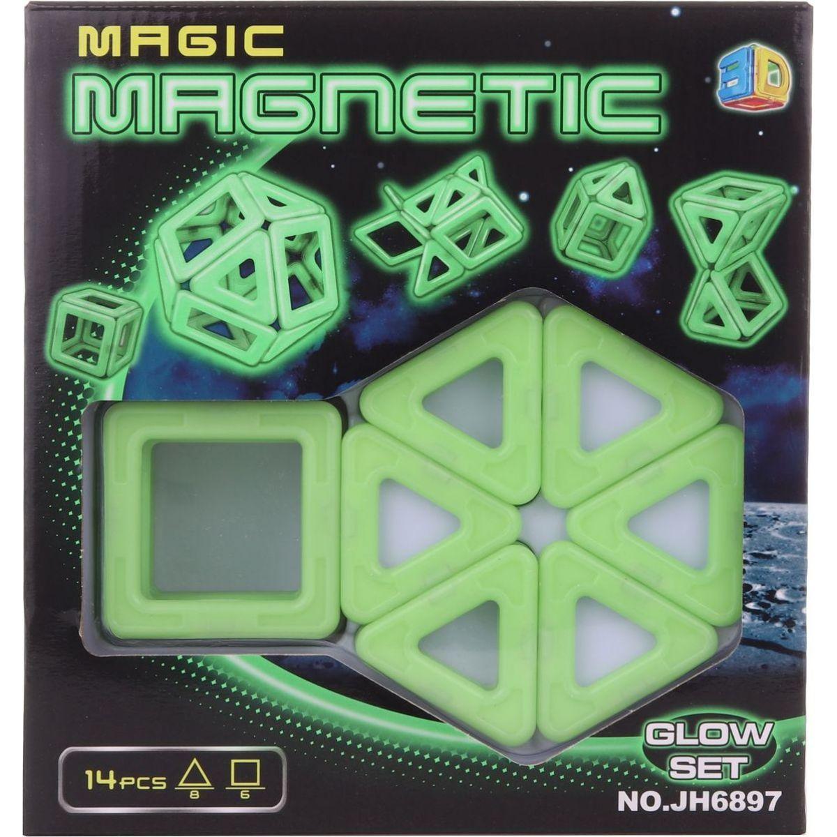 Magnetická stavebnica 14 ks svietiaci