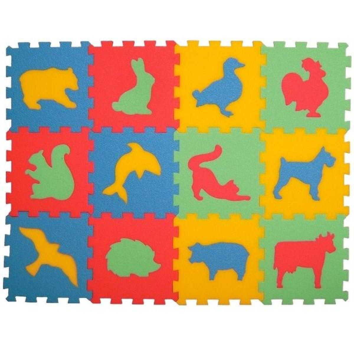 Malý Génius Penové puzzle koberec Zvieratká 12ks