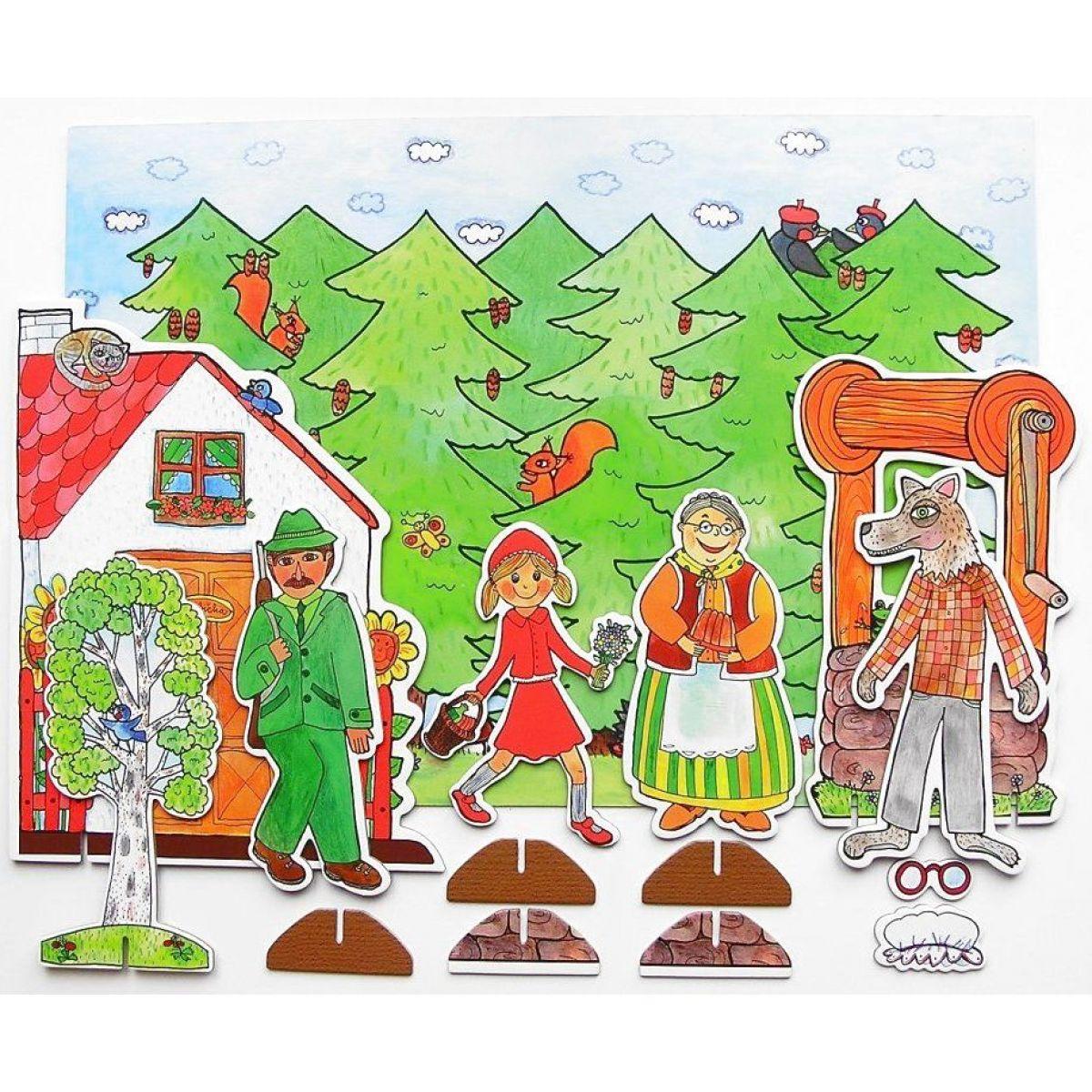 Marionetino Červená čiapočka scéna s figurkami