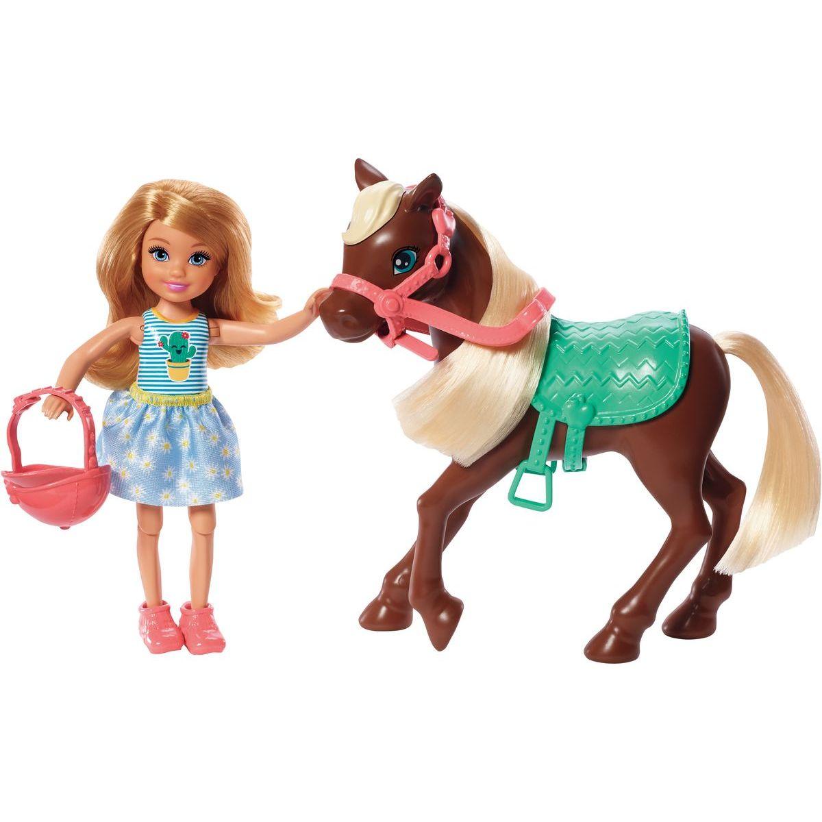 Mattel Barbie Chelsea a poník tm.hnedá