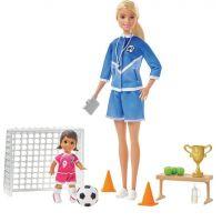 Mattel Barbie fotbalová trenérka s panenkou herní set blond trenérka