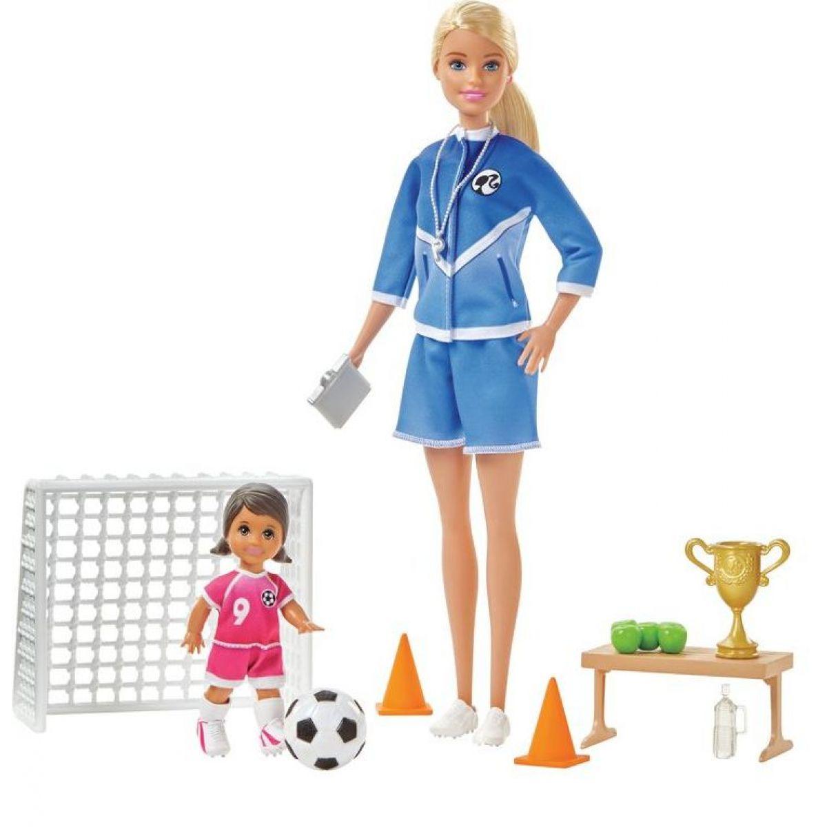 Mattel Barbie futbalová trénerka s bábikou herné set blond trénerka