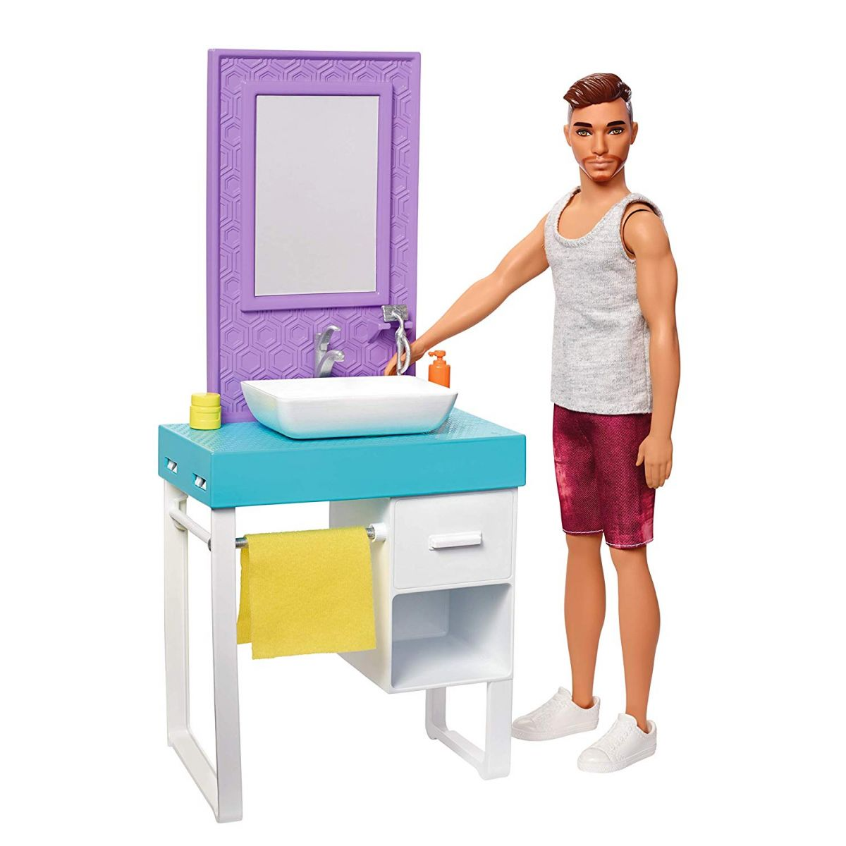 Mattel Barbie Ken s nábytkom umývadlo