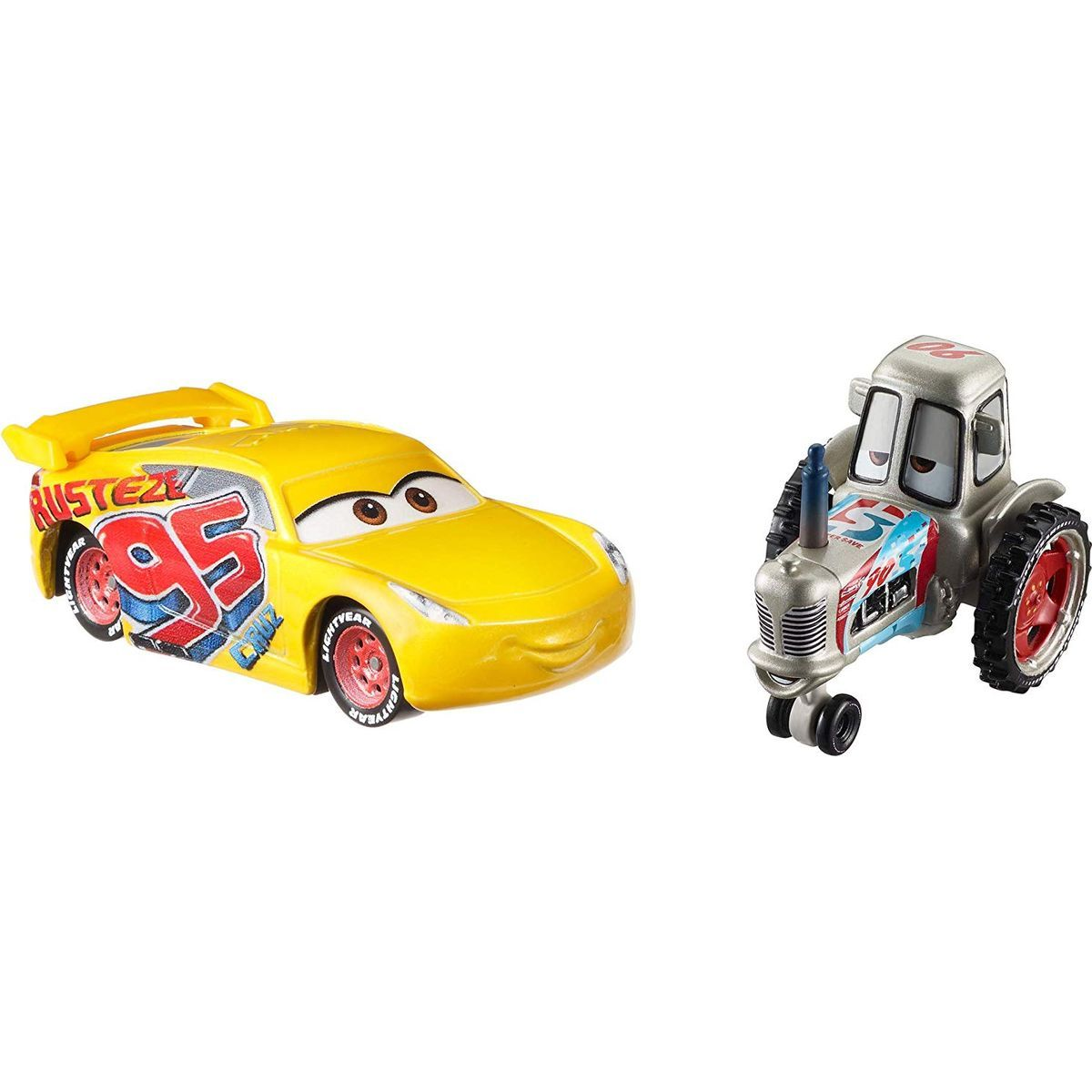 Mattel Cars 3 autá 2 ks Bumper Racing Tractor a Rrust-Eze Cruz Ramírez