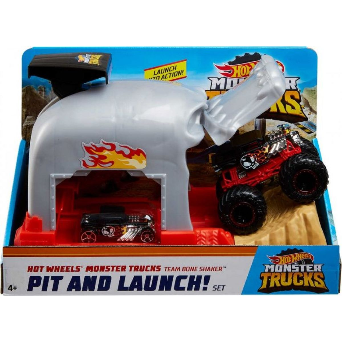 Mattel Hot Wheels monster trucks pretekárske herné set šedý