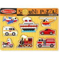 Melissa & Doug Dřevěné puzzle se zvuky dopravní prostředky