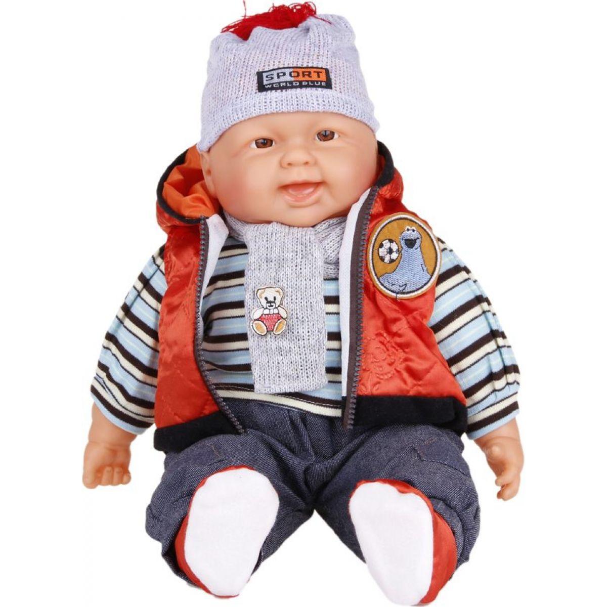 Bábätko veľké Chlapec oranžová vesta 55 cm