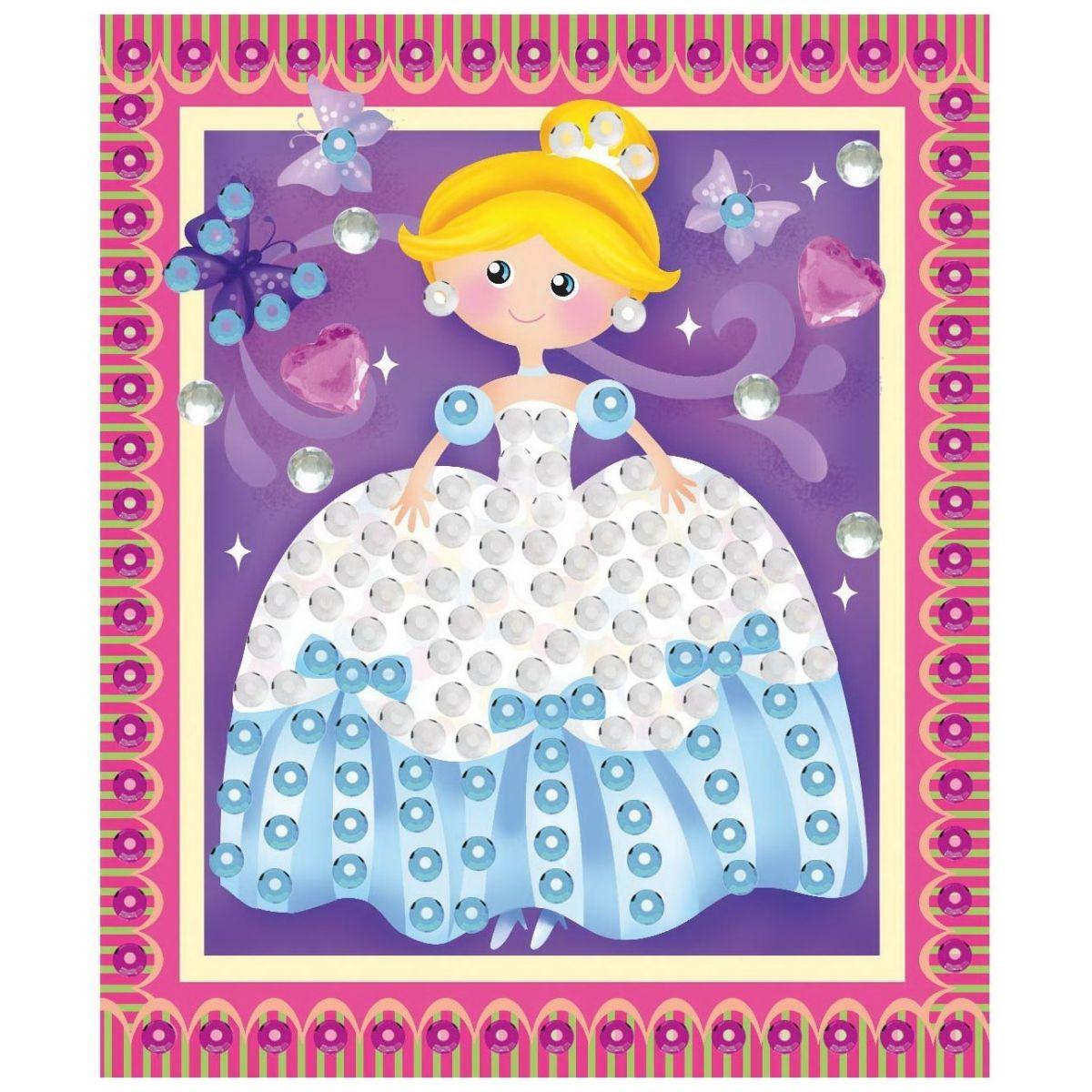 Mozaika sa trblietavými flitrami dievčenskú 20,5x17cm princezná