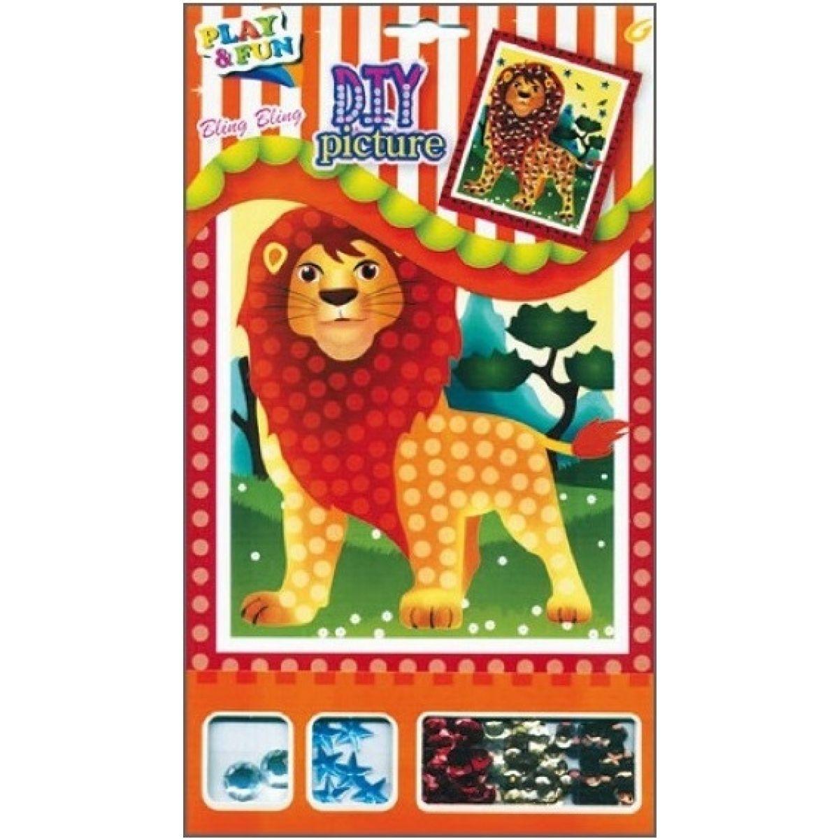 Mozaika sa trblietavými flitrami zvieratka 20,5x17cm lev