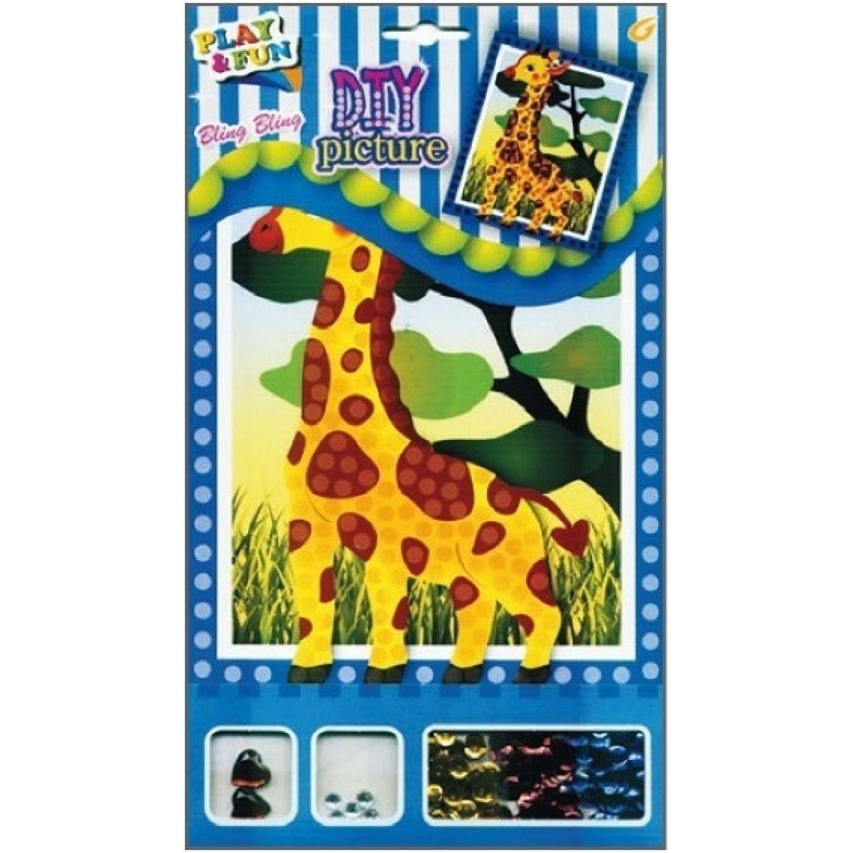 Mozaika sa trblietavými flitrami zvieratka 20,5x17cm žirafa