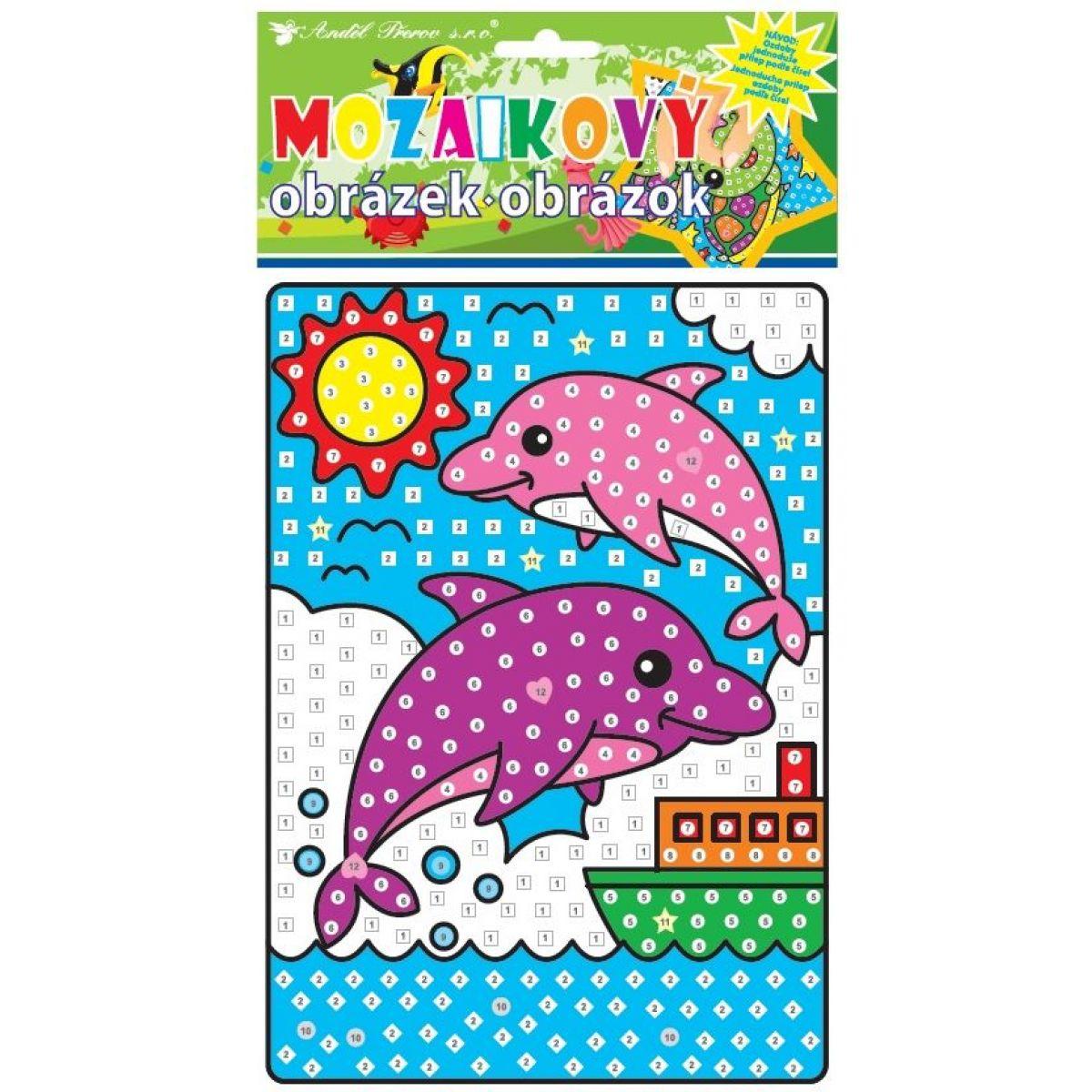 Mozaika sa zvieratkami 23x16 cm delfíny