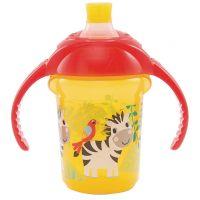 Munchkin Click Lock netečúci obrázkový hrnček s uškami 237 ml žlto-červený