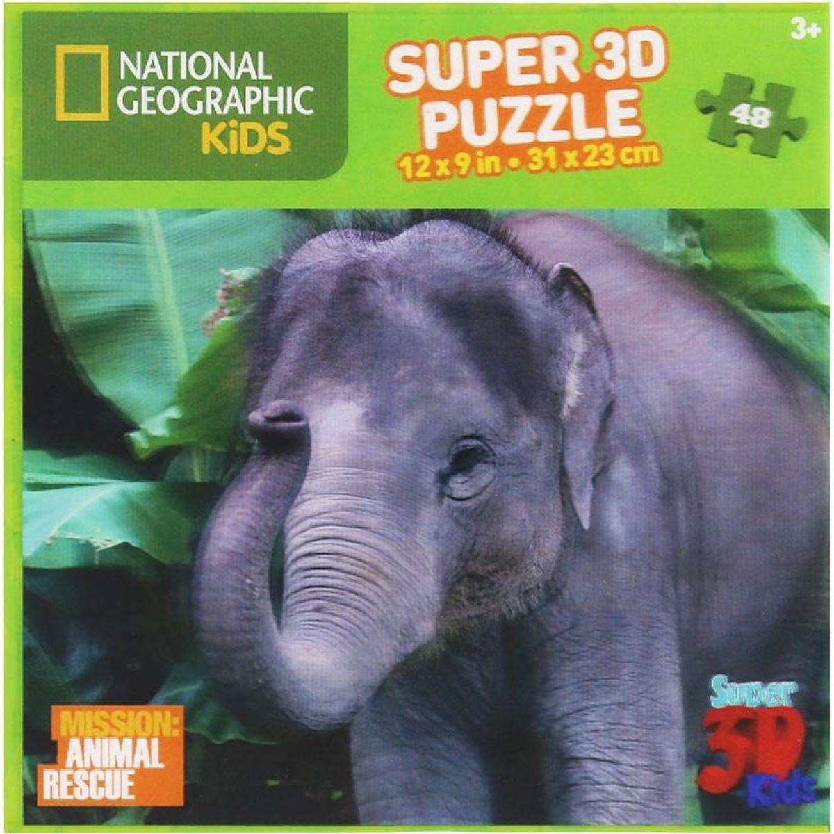 Prime 3D National Geographic Kids 3D Slon 48 dílků