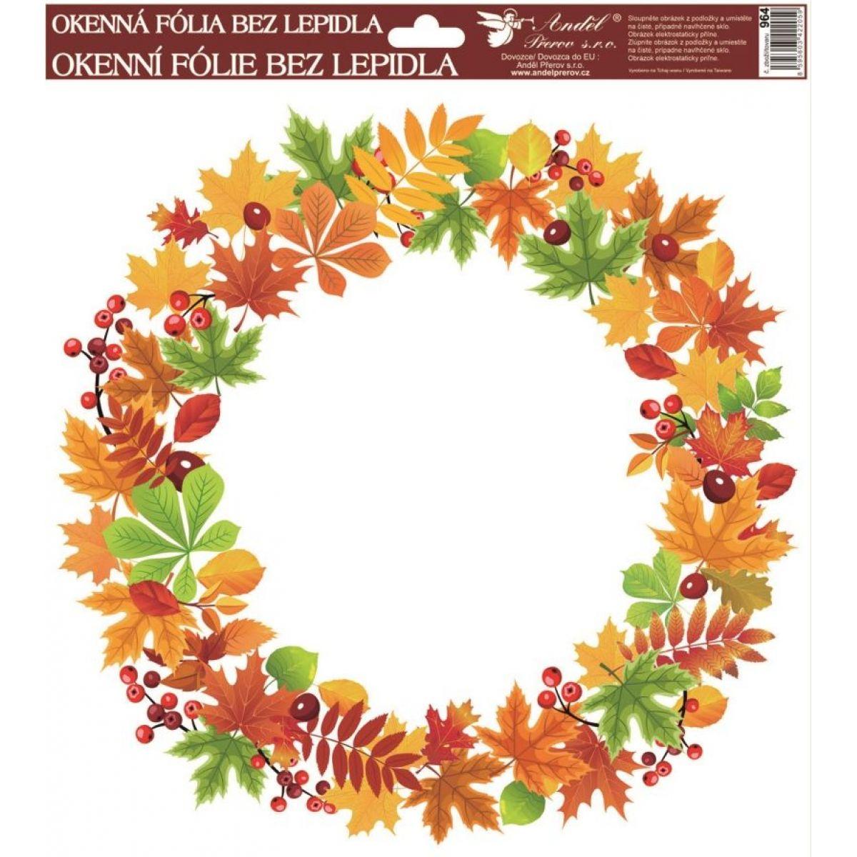 Okenné fólie 30 x 30 cm, jesenné vence lístie sa šípky